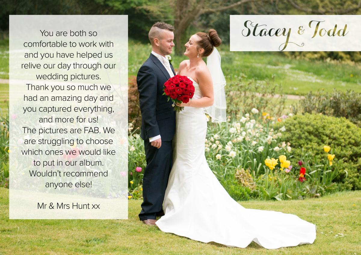 Testimonial Hertfordshire Wedding Photography