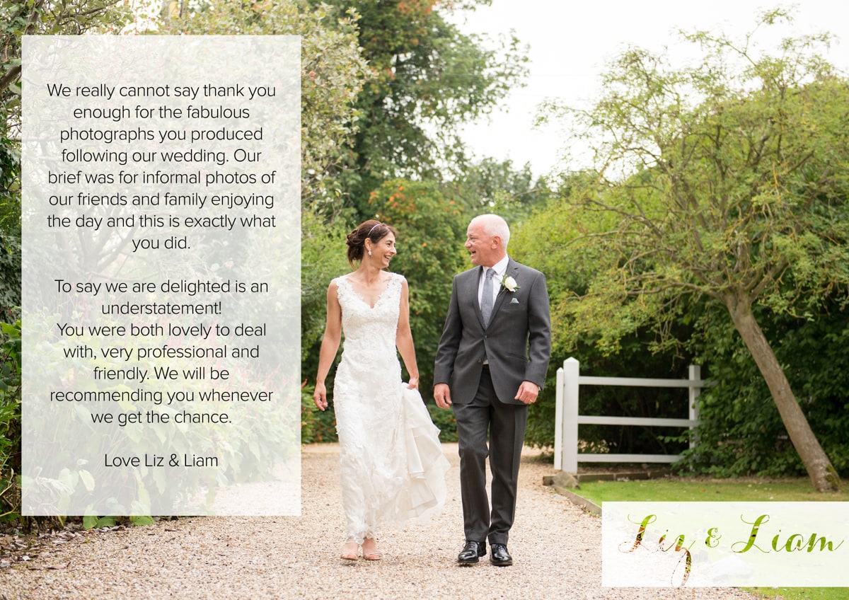 Testimonial Hertfordshire Wedding Photography at the Reid Rooms