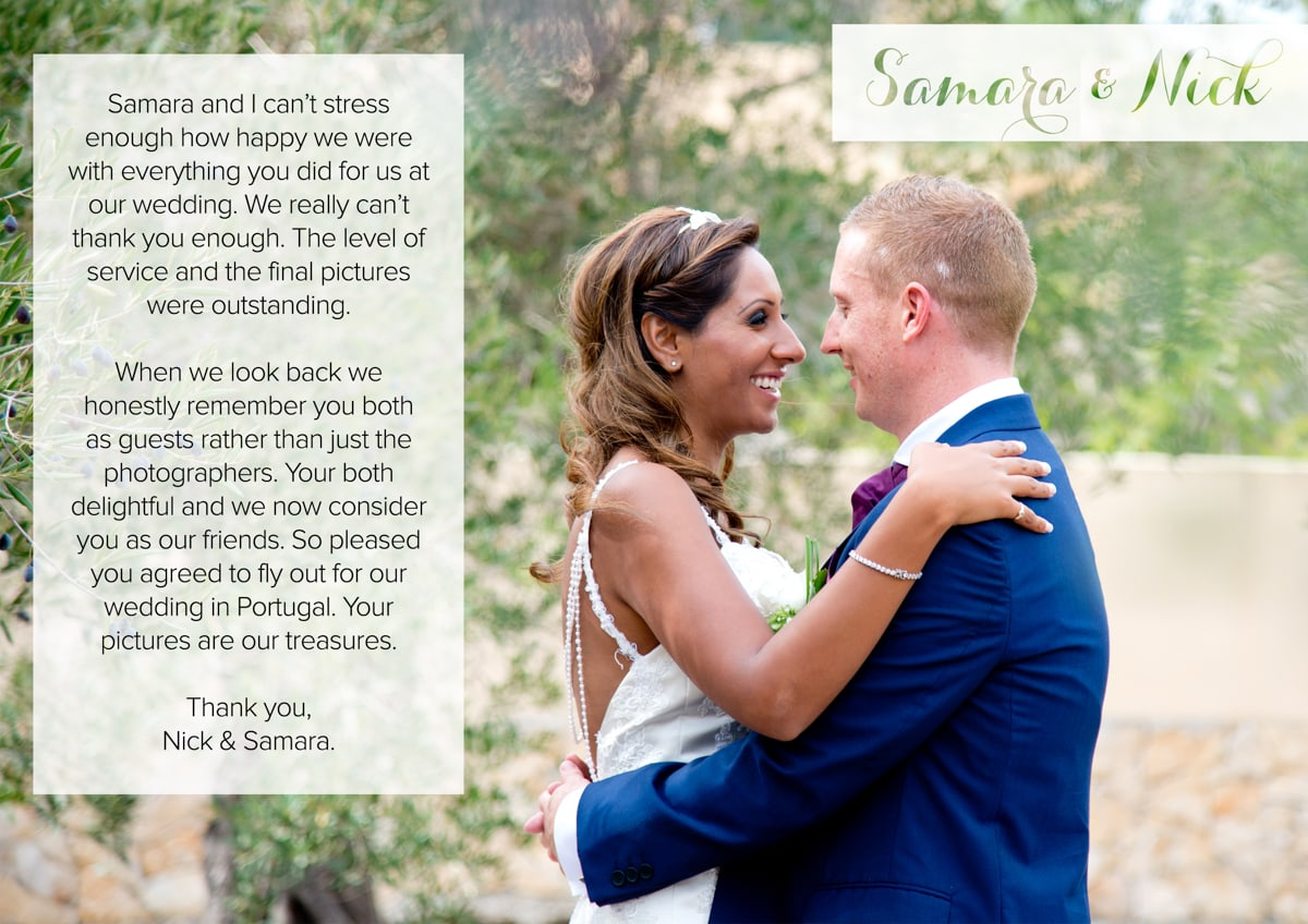 Testimonial Destination Wedding Photography