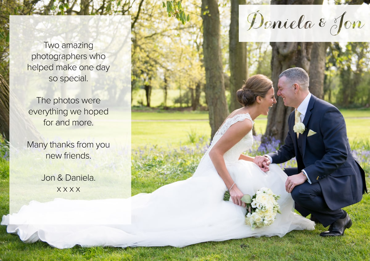 Testimonial St Albans House Wedding Photography