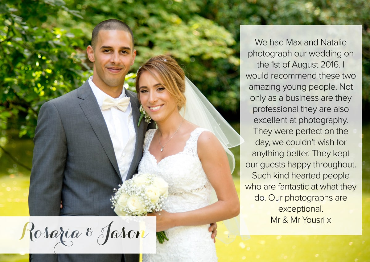 Testimonial Mulberry House Wedding Photography